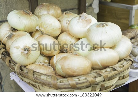 Onions grocers, fruit and vegetables - stock photo