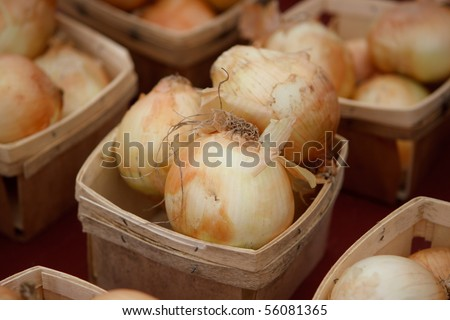 Onions in wooden baskets at market - stock photo