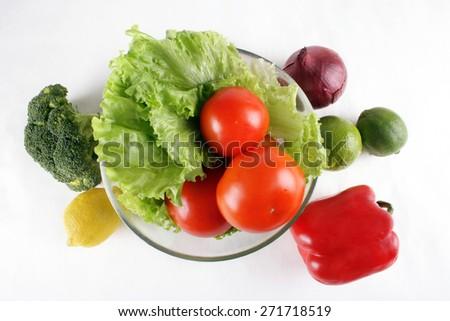 onions, lime, pepper, radish, lemon - stock photo