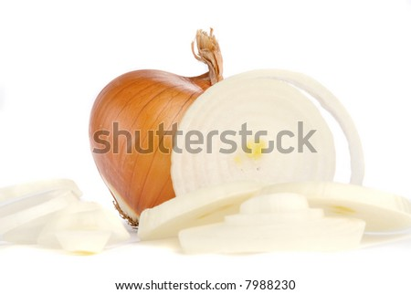 onions on white background - stock photo