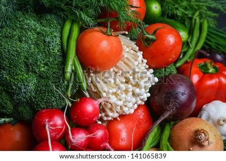 onions radish vegetables beet cabbage mushrooms tomatoes  - stock photo