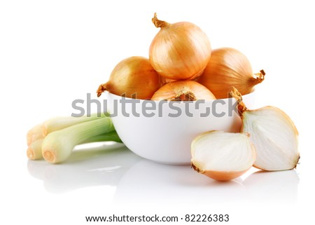 onions vegetables in white plate with cut isolated on white background