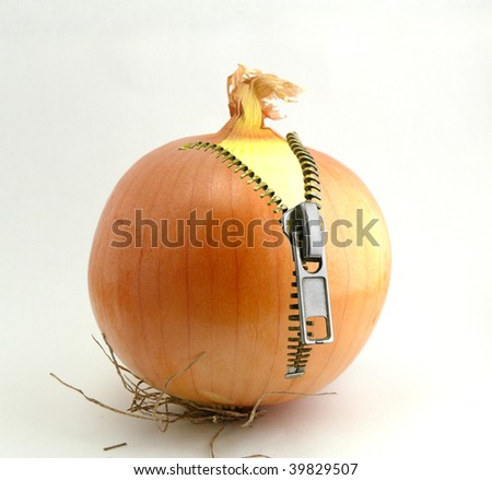 Onions with a fastener on a white background - stock photo