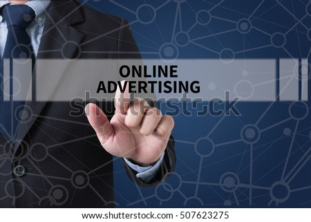 ONLINE ADVERTISING Businessman hands touching on virtual screen and blurred city background