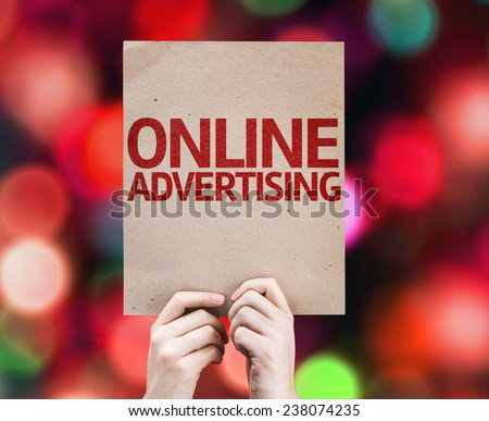 Online Advertising card with colorful background with defocused lights - stock photo