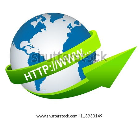 Online and Internet Concept Present By Green Internet URL Arrow Around The Blue World Isolated on White Background - stock photo