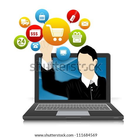 Online and Internet Shopping Concept Present by Computer Notebook With Businessman Pointing to Colorful E-Commerce Icon Isolate on White Background - stock photo