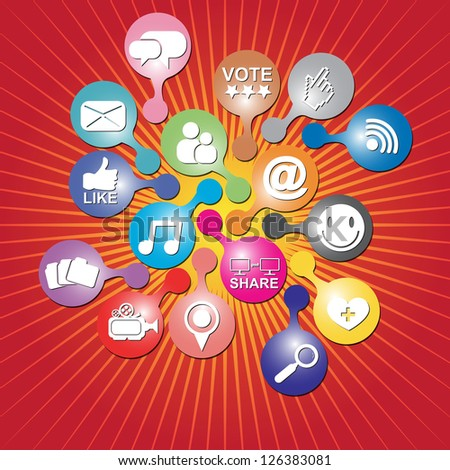 Online and Internet Social Network or Social Media Concept Present By Group of Colorful Social Media or Social Network Icon in Red Shiny Background - stock photo