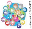 Online and Internet Social Network or Social Media Concept Present By The Earth With Group of Colorful Social Media or Social Network Icon Isolated on White Background - stock vector