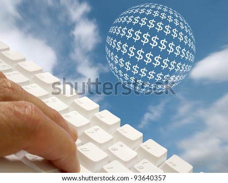 Online banking concept showing keyboard with dollar ball - stock photo