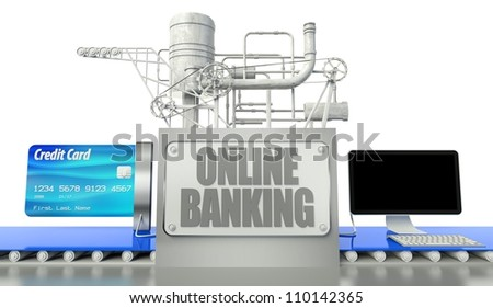 Online banking concept with computer and credit card