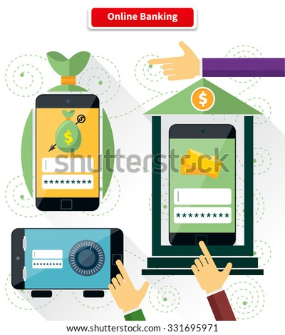 Online banking flat style design. Pay and transaction, internet finance, digital bank, security and protection, connection shopping, money and mobile, safety web illustration. Raster version - stock photo
