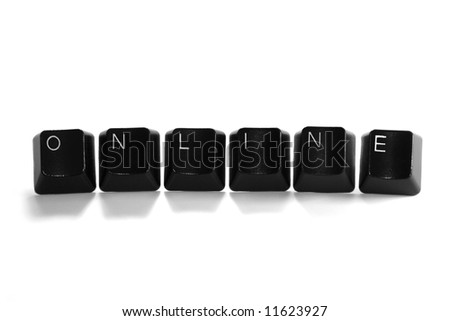 online - black computer keys isolated on white background