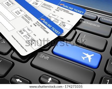 Online booking airplane tickets. Laptop keyboard.  3d - stock photo