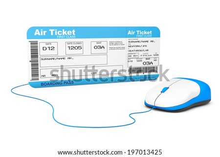 Online booking concept. Airline boarding pass ticket and computer mouse on a white background - stock photo