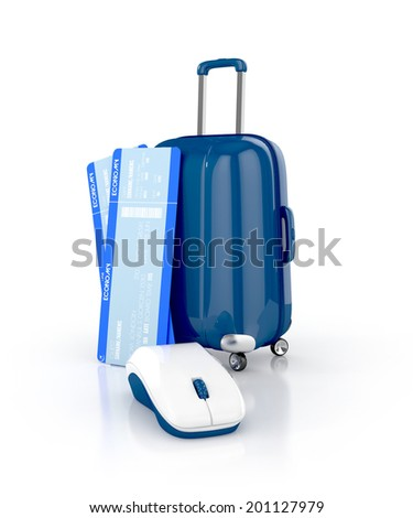 online booking concept. airline boarding pass ticket with computer mouse and suitcase isolated on white background. 3d illustration - stock photo