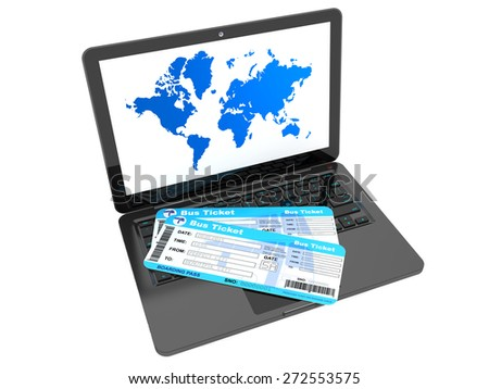 Online booking concept. Laptop with Bus tickets on a white background - stock photo