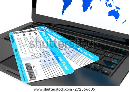 Online booking concept. Laptop with Bus tickets on a white background