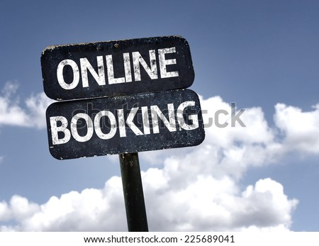 Online Booking sign with clouds and sky background - stock photo
