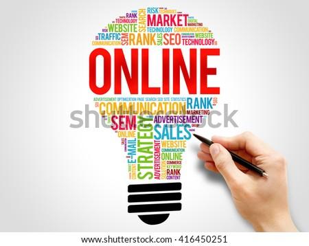 ONLINE bulb word cloud, business concept - stock photo