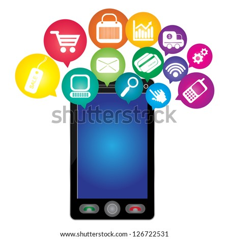 Online Business and E-Commerce Concept Present By Black Smart Phone With Blank Screen For Your Own Text Message and Group of Colorful E-Commerce Icon Above Isolated on White Background - stock photo