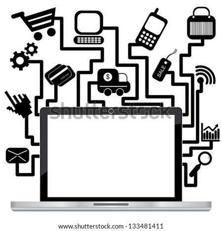 Online Business and E-Commerce Concept Present By Computer Laptop or Computer Notebook With Blank Screen and Group of E-Commerce Icon Isolated on White Background - stock photo