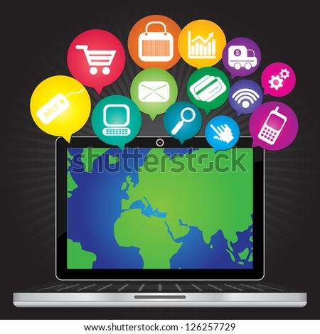 Online Business and E-Commerce Concept Present By Computer Laptop With World Map in Screen and Group of Colorful E-Commerce Icon Above in Dark Background - stock photo