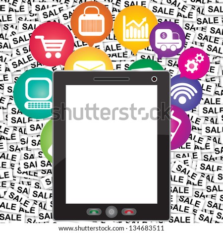 Online Business and E-Commerce Concept Present By Tablet PC With Blank Screen For Your Own Text Message and Group of Colorful E-Commerce Icon Behind in Sale Label Background - stock photo