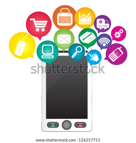 Online Business and E-Commerce Concept Present By White Smart Phone With Blank Screen For Your Own Text Message and Group of Colorful E-Commerce Icon Above Isolated on White Background - stock photo