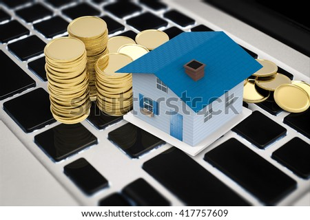 online business concept with 3d rendering house and stack of coins  - stock photo