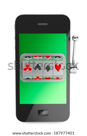 Online casino concept. Slot machine inside Mobile Phone on a white background - stock photo