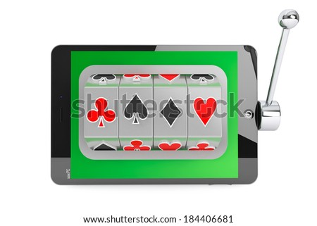 Online casino concept. Slot machine inside Tablet PC on a white background - stock photo