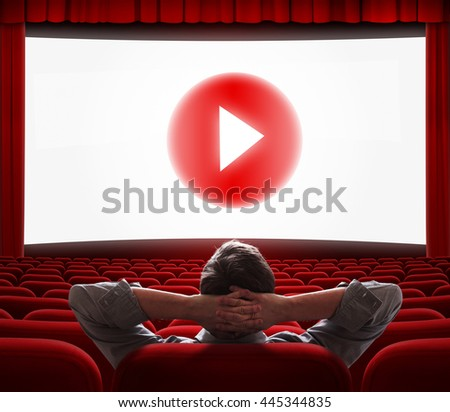 online cinema screen with play media button in center - stock photo