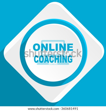 online coaching blue flat design modern icon for web and mobile app - stock photo