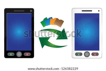 Online Communication and Data Transfer Concept Present By Black and White Smart Phone With Data Transfer Icon Isolated on White Background - stock photo