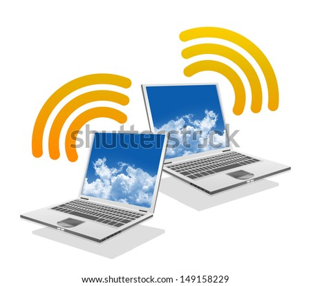 Online Communication Concept, Present By Computer Laptop With Orange Wifi Sign Isolated on White Background  - stock photo