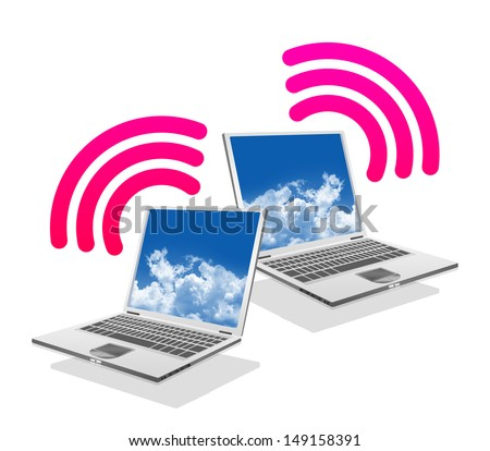 Online Communication Concept, Present By Computer Laptop With Pink Wifi Sign Isolated on White Background  - stock photo