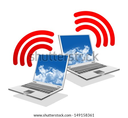 Online Communication Concept, Present By Computer Laptop With Red Wifi Sign Isolated on White Background  - stock photo