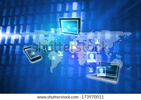 Online community background against glowing squares on blue background - stock photo