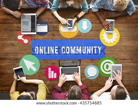 Online Community Networking Technology Concept - stock photo