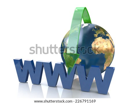 Online Concept By Green arrow Internet www address (Elements of this image furnished by NASA- earthmap http://visibleearth .nasa.gov) - stock photo