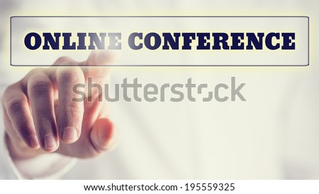 Online conference on a virtual interface in a navigation bar with a businessman touching it with his finger from behind, vintage effect toned image. - stock photo