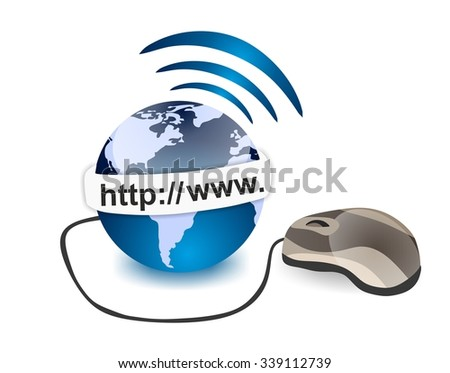 online connection - internet and world - stock photo