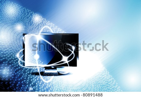 Online connection - monitor with digits concept - stock photo