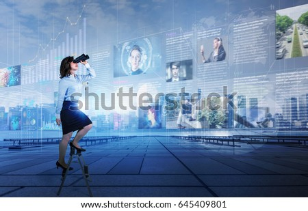 Online curation media concept. electronic newspaper. young woman holding laptop PC and various news images. network monitoring. abstract mixed media.
