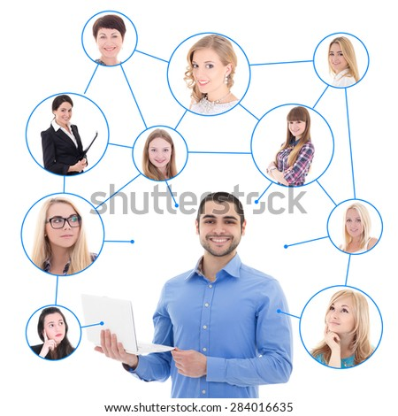 online dating concept - handsome man with laptop and his social network isolated on white background