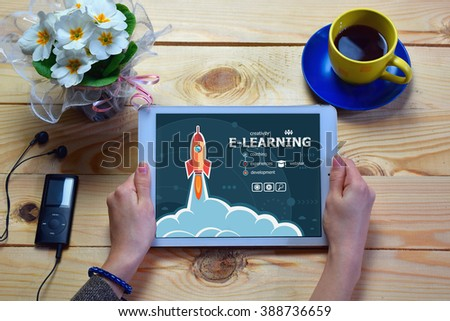 Online e-learning design and concept background with rocket.  - stock photo