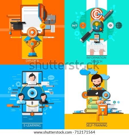 online education concept icons set diploma stock illustration  online education concept icons set diploma and information search symbols flat isolated illustration