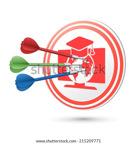 online education concept target with darts hitting on it over white - stock photo