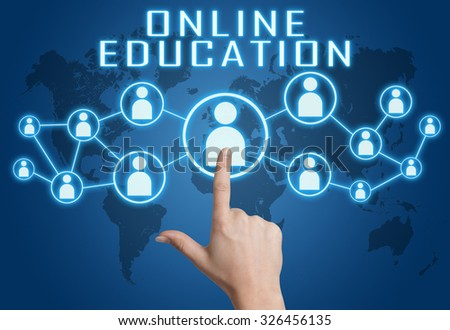 Online Education concept with hand pressing social icons on blue world map background. - stock photo